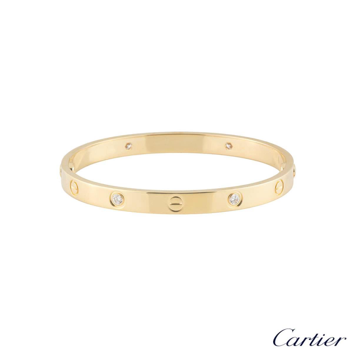 Cartier Yellow Gold Half Diamond Love Bracelet Size 17 B6035917